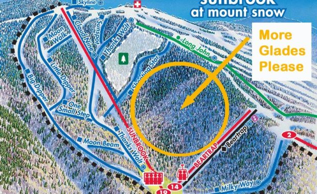 Fantasy ski trail map for Mount Snow
